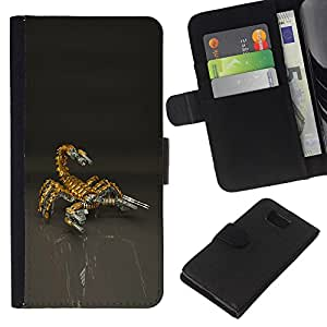 Planetar® Colorful Pattern Flip Wallet Leather Holster Protective Skin Case Cover For Samsung ALPHA / SM-G850 / S801 ( Scorpion Bot Mech Robot )