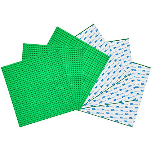 Green Building Blocks - EKIND 6 PCS Peel Stick Baseplate, Self Adhesive Classic Building Brick Plate 10
