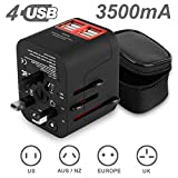Travel adapter,ADOKEY 3.5A 4 USB Charging Ports Universal Travel Charger,International All in One Worldwide Travel Converter Plug Built-in Fuse AC Power Wall Charger for US EU AU UK & Europe(black)