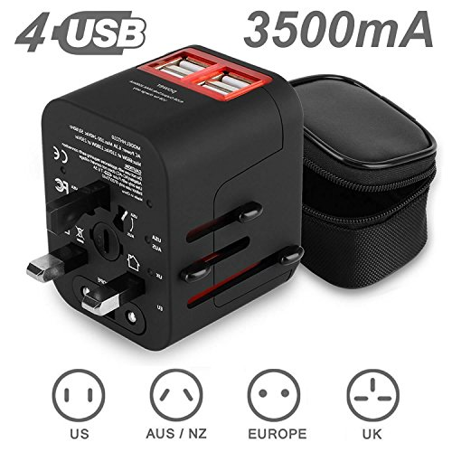 Travel adapter,ADOKEY 3.5A 4 USB Ports worldwide travel adapter,International on