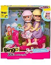 Bingo Koki Dolls with Motorcycle, 5 Pieces - Multi Color