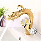 FHLYCF Basin faucet, European style retro copper, gold, cold and hot crystal hands, two hands bathroom faucet