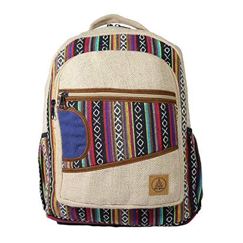 (Natural Large Hemp Backpack - Blue Bag & Durable Anti Theft Travel Bag - Multi Color Stripe/Yoga/Hippie/Bohemian/Music Festival/Eco-Friendly/College Student Notebook Bag )