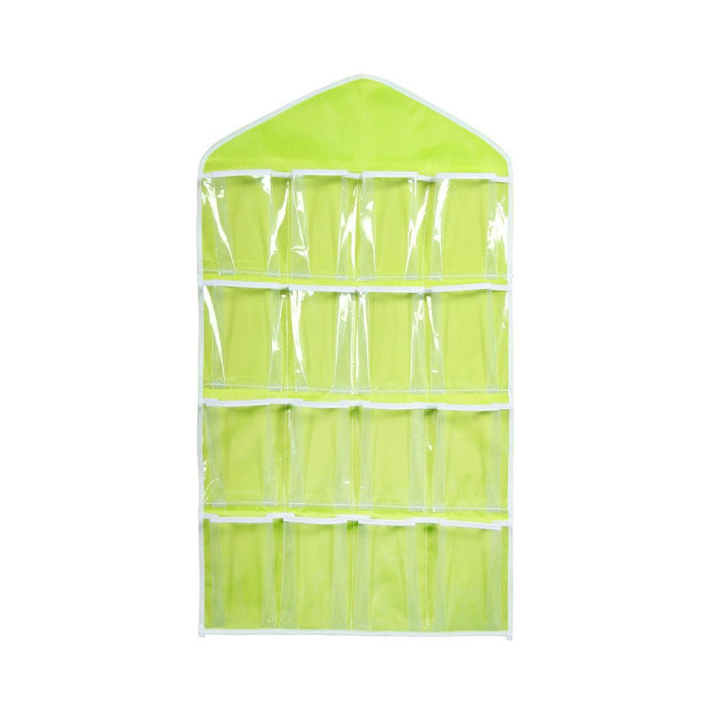 Eolgo Foldable Storage Bag Organizers, 16 Pockets Clear Hanging Bag Socks Bra Underwear Rack Hanger Storage Organizer (Green, 76X42cm)