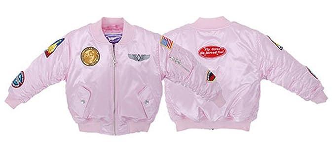 3ce5fdf21 Amazon.com: Planejunkie Girl's MA-1 Flight Jacket - Kids Aviation ...