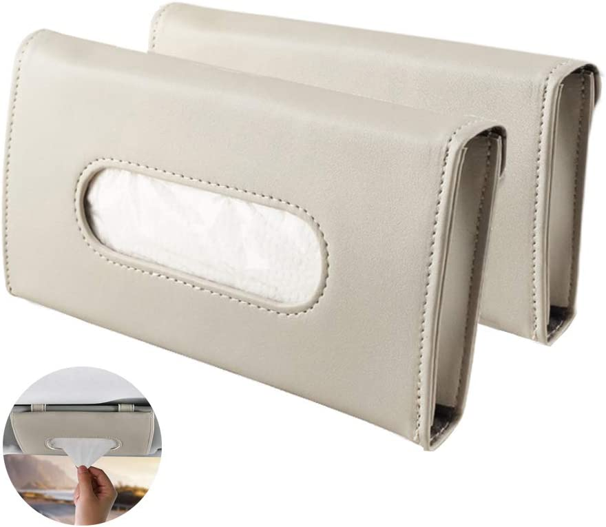 2 PC Car Sun Visor Organizer Tissue Box Holder for Car and PU Leather Car Napkin Holder Kleenex Holder Backseat Tissue Purse Case Holder for Car N//V Car Tissue Holder Visor Beige