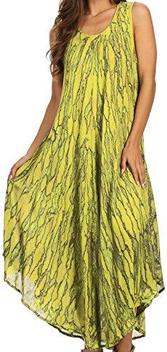 (Sakkas 14801 - Kara Long Draped Sleeveless Marbled Caftan Dress/Cover Up - PineAppleYellow - OS )