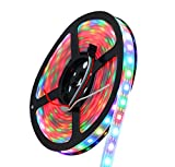 INVOLT 300 Pixel WS2812B Digital Individually Addressable LED Strip, Multi-Colored IP67 Waterproof 16.4FT Black PCB, 5050 RGB Magic Dream Color Rope Light DC 5V 60IC-60LED/M