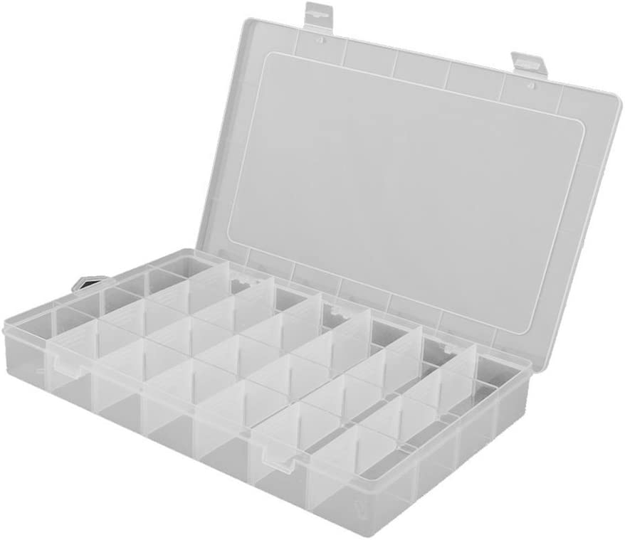 FENICAL Clearn Plastic Jewelry Organizer Box 28-Grid Storage Container Case with Removable Dividers
