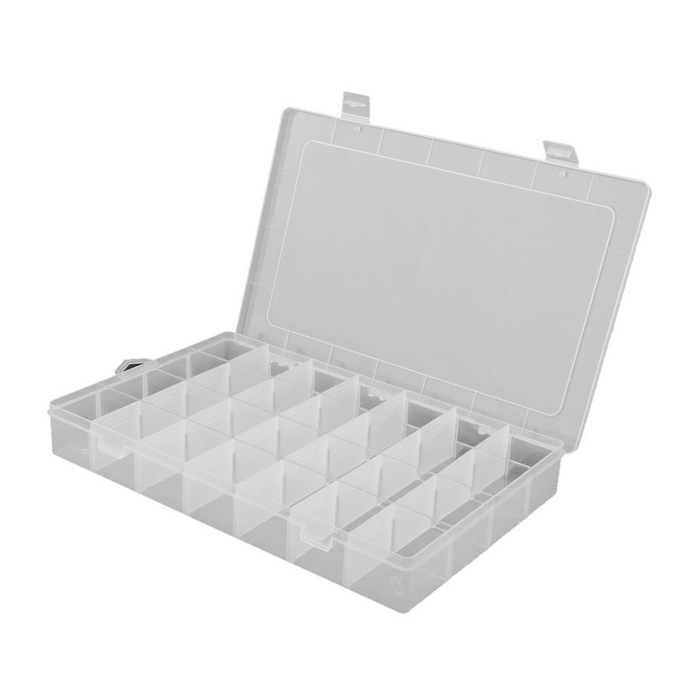 Tinksky Clear Plastic Jewelry Organizer Box 28-griglia contenitore custodia con divisori rimovibili