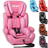 KIDUKU Safety Car Seat | Booster Seat | 3 in 1 Childs Babys from 9-36 kg (20 lbs - 80 lbs) 1-12 Years | Convertible, universal | approved to ECE R44/04 | Group 1 + 2 + 3 | six pink