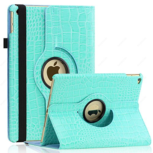 iPad Air 2 Case (Released 2014), SAWE - PU Leather Case with 360 Degrees Rotating Swivel Stand Folio Case Smart Cover for New iPad Air 2 2nd (iPad 6) Gen with Sleep / Wake Up Feature WiFi & 4G LTE (Baby Blue Crocodile)
