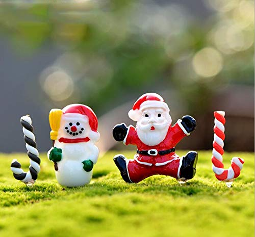 - Bestchoice - Santa Claus Snowman crutch ChristmasDecoration miniature Figurine fairy garden ornament statue love resin craft Kids toy TNS036