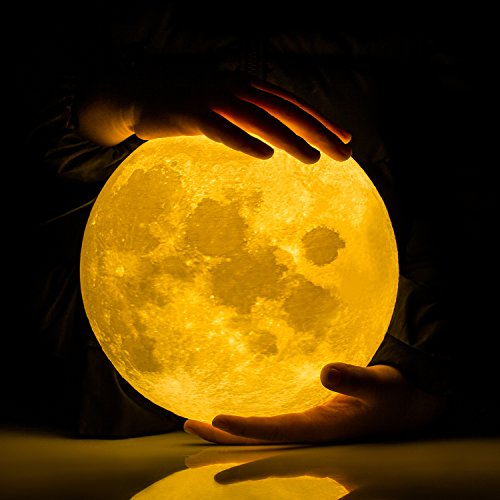 Extra Large!!! GPJOY 3D Moon Lamp Rechargeable Lunar Night Light Dimmable Touch Control Brightness Two Tone Home Decorative Lights Baby Night Light with Wooden Stand, Diameter 7.3 Inch (Print Battery Cart)