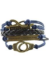 ETSYG® Bronze Infinity 8 Bracelet Best Friend Handcuffs Bangle Blue Rope Black Leather