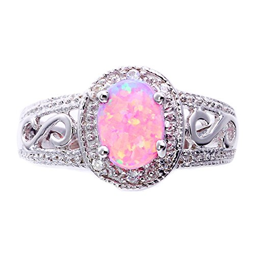 Synthetic Oval Pink Opal Sterling Silver Filigree Shank Womens Halo Wedding Ring SPJ