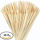 Beyonder Bamboo Marshmallow Roasting Sticks with 30 Inch 5mm Thick Extra Long Heavy Duty Wooden Skewers, Roaster Barbecue Smores Skewers & Hot Dog Forks for Camping ,Party,Kebab Sausage (40 Pcs)