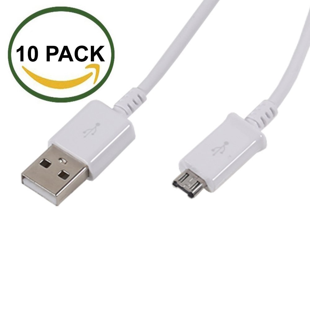 TekSonic 10-Pack Micro USB Cable Wholesale Lot (Bulk Discount) - 1 M/3.3 ft Universal Charging Sync and Charge Micro USB to USB A cords, Data cable for Samsung Galaxy, HTC, LG, Android, Windows Phone by tekSonic (Image #2)