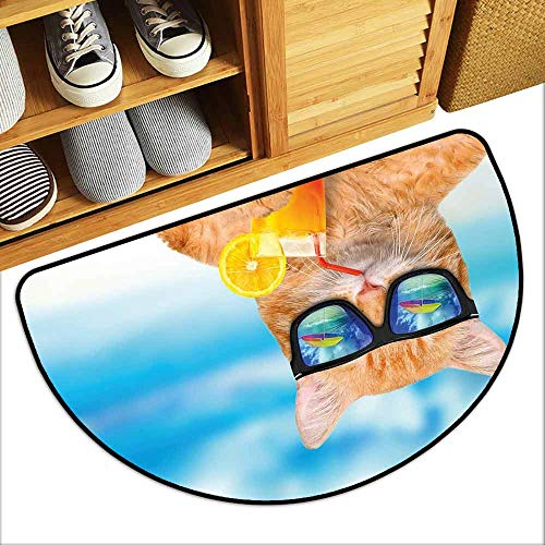 (DILITECK Pet Door mat Funny Cat Wearing Sunglasses Relaxing Cocktail in The Sea Background Summer Kitty Image Quick and Easy to Clean W24 xL16 Blue Ginger)