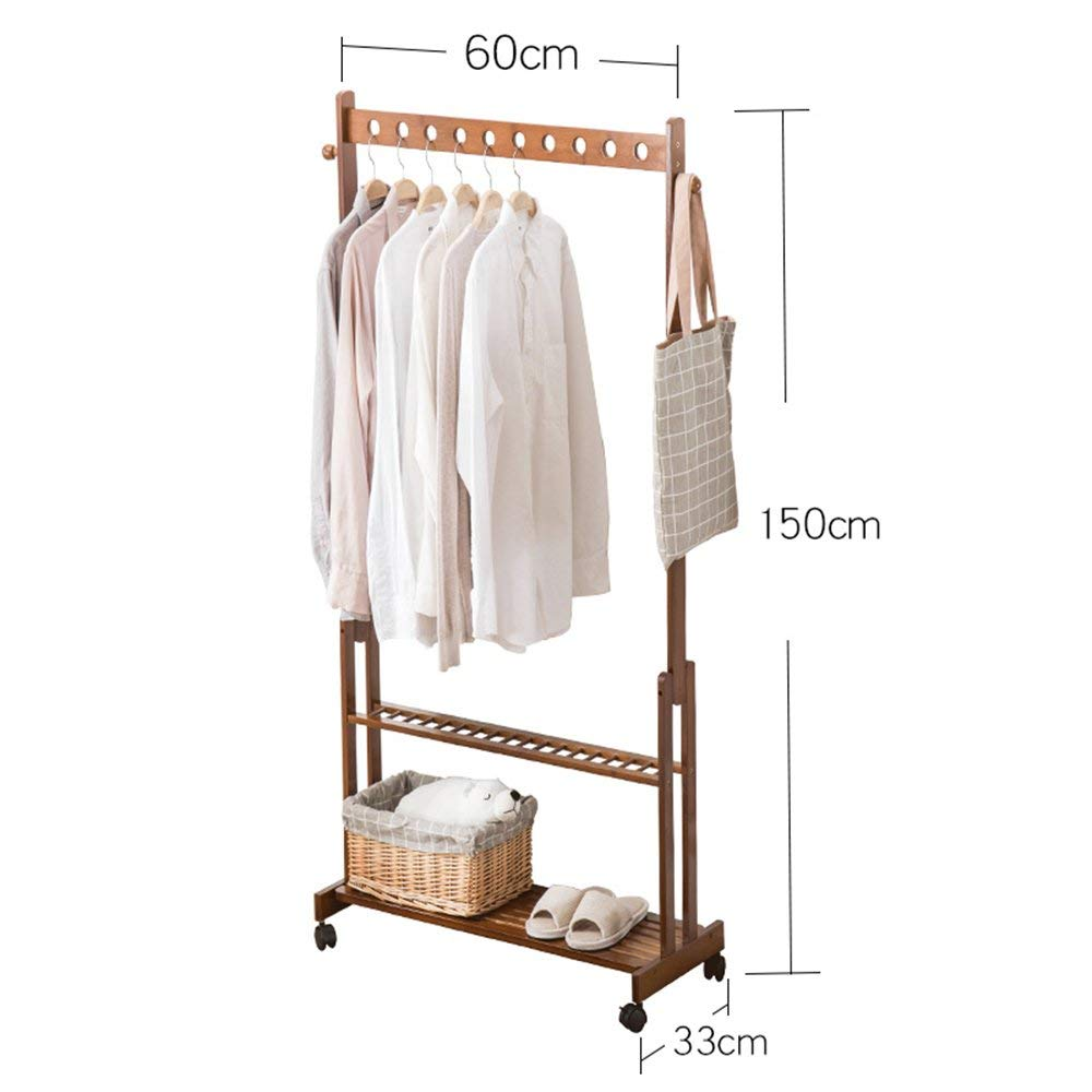 15060cm DYR Multi-Function Coat Rack in Bamboo Coat Rack Arts Living Room Bedroom Clothes Rack Sliding Wardrobe Coat Rack (color  150  70 cm)