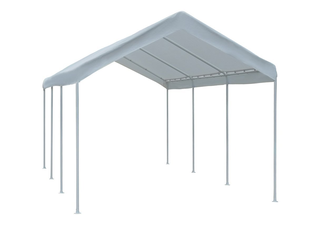 Abba Patio 10 x 20-Feet Outdoor Carport with Steel Legs, White APCC1020W