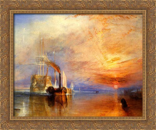 The Fighting 'Téméraire' Tugged to Her Last Berth to Be Broken Up 24x20 Gold Ornate Wood Framed Canvas Art by Joseph Mallord William Turner (The Fighting Temeraire Tugged To Her Last Berth)