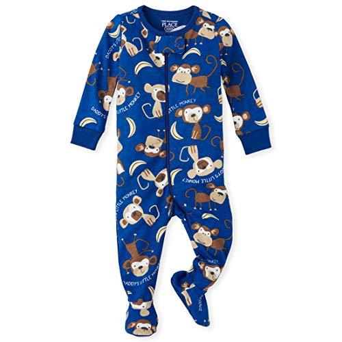 The Children's Place Baby Boys Printed Blanket Sleeper, Edge Blue, 3T (Toddler Monkey Pajamas)