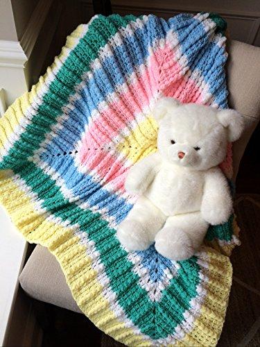 Pastel Summer Square handmade baby afghan