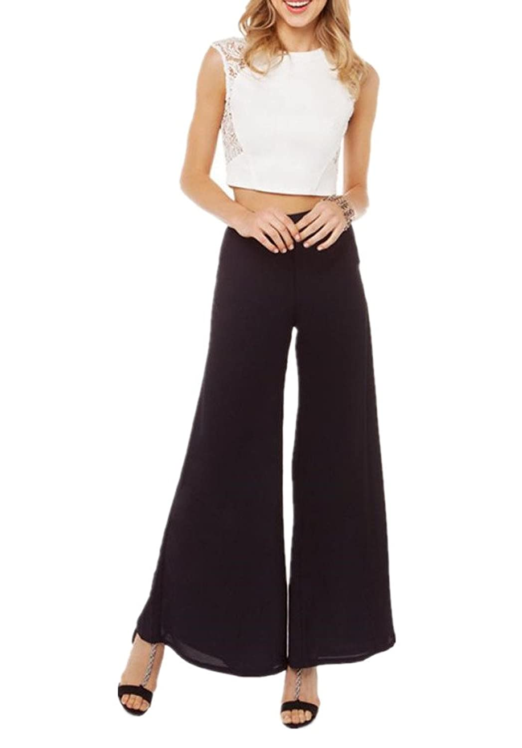 Enlishop Women's Black Chiffon Pleated High Waist Wide Leg Long Palazzo Pants