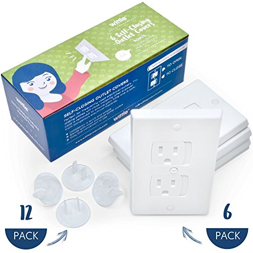 Wittle Self Closing Outlet Covers (6 White) Plus 12 Clear Plug Cover Outlet Protectors | Child and Baby Proofing Electrical Outlets the Simple and Convenient Way With a One of a Kind Combo Pack! (Closing Receptacle Round Self)