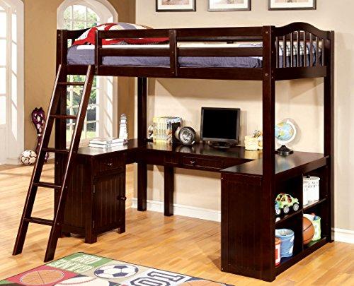 (Furniture of America Lavinia Twin Loft Bed with Workstation, Dark Walnut )