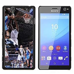 Dallas 33 Baloncesto- Metal de aluminio y de plástico duro Caja del teléfono - Negro - Sony Xperia C4 E5303 E5306 E5353