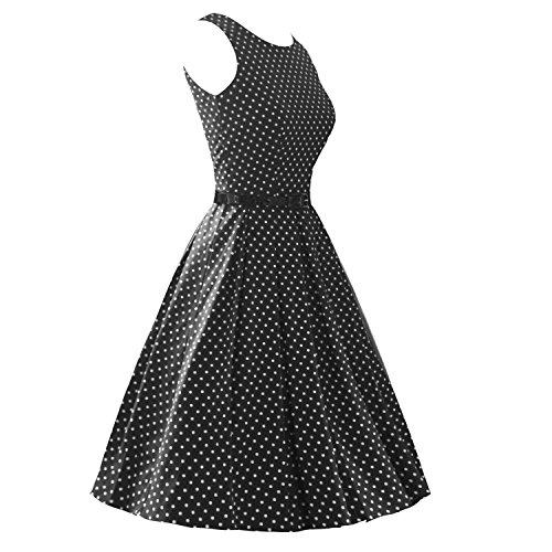 LUOUSE Sommer Damen Ohne Arm Kleid Dress Vintage kleid Junger abendkleid,DotBlack,S