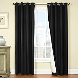 Jinchan 50 Inch By 84 Inch Thermal Backing Blackout Window Curtains Drapes For