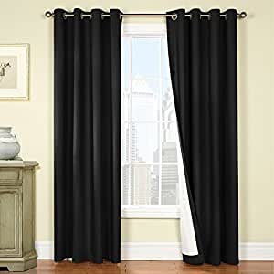 Jinchan 50 inch by 84 inch thermal backing blackout window curtains drapes for - Amazon curtains living room ...