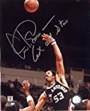 """Artis Gilmore (Hall of Fame) Autographed /Original Signed 8x10 Action-photo in Silver Sharpie Showing Him with the San Antonio Spurs - Gilmore Inscribed """"6 X All Star"""" Beneath His Signature"""