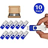 TOPSELL 10 Pack 16GB USB Flash Drives Flash Drive Flash Memory Stick Swivel USB 2.0 (16G, 10PCS, Blue)