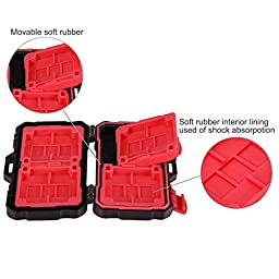 Eggsnow 24 Slots Memory Card Case ,Water-Resistant SD Card Case Anti-Shock Carrying Holder Storage Case for CF/ Micro SD/SD Cards-Red