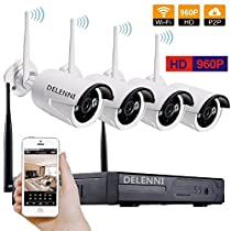 DELENNI 4CH WIFI NVR Wireless Security CCTV Cameras with 4 Outdoor Wireless 720P Wireless IP Night Vision Outdoor Surveillance CCTV Camera Home Security Surveillance Kits (960P No hard disk)
