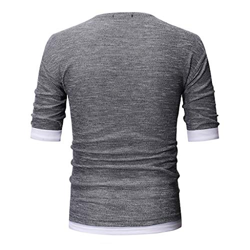 JJLIKER Mens Graphic T Shirt Casual Short Sleeve Tops Casual Blouse Fashion Personality Slim Fit Tees Summer Gray