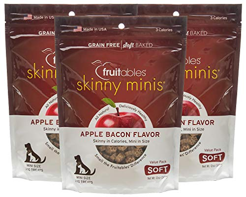- Fruitables Skinny Minis 12 Ounce Apple Bacon Low Calorie Soft and Chewy Training Treat Pack of 3