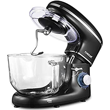 ... 660W Tilt-Head Kitchen Electric Food Mixer with Low Noisy, 5.5Qt Glass Bowl, 6 Speed Control, Dough Hook, Whisk, Beater, Splash Guard, for Cake, Bread, ...