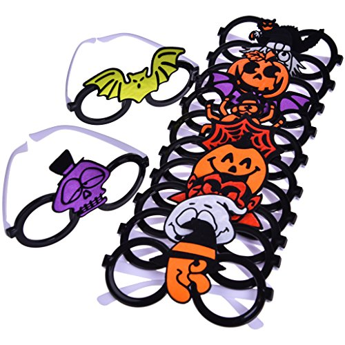 Halloween Party Favor Decoration Accessories Eyeglasses For Kids Variety Pack, Party Props, Pumpkin, Bat, Spider, Witch, Vampire, Skull, Ghost 12 PCs (Cheap Halloween Games For A Party)