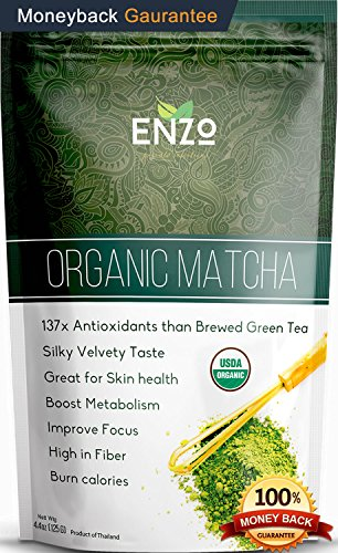 Light Ceremonial Organic Matcha Green Tea Powder (125g 4.4oz). It has fresh Tropical Grassy undertone and is the Perfect Drink to Start Your Day, Enzo macha makes Amazing Tea 4.4oz