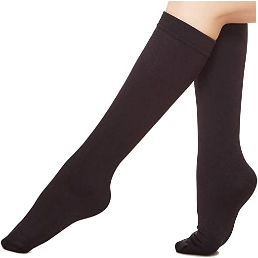 Muk Luks Women/'s Fleece Lined 2-Pair Pack Knee High Socks Black//Black
