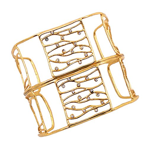 Double Plated Crystal 24k Gold - Double Square and Swarovski Crystal Cuff Bracelet (24k Gold-Plated) by Mercedes Shaffer
