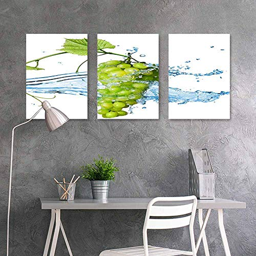 BDDLS Pattern Oil Painting,Grapes Washed with Water Office Art Decoration 3 Panels,16x31inchx3pcs White (2)