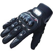Doinshop New Fashion 1pair Rock Black Short Sports Leather Motorcycle Motorbike Summer Gloves (XL)