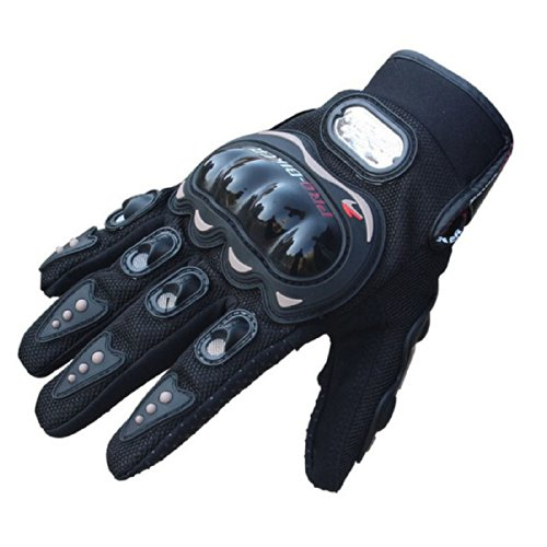 Doinshop New Fashion 1pair Rock Black Short Sports Leather Motorcycle Motorbike Summer Gloves (L)