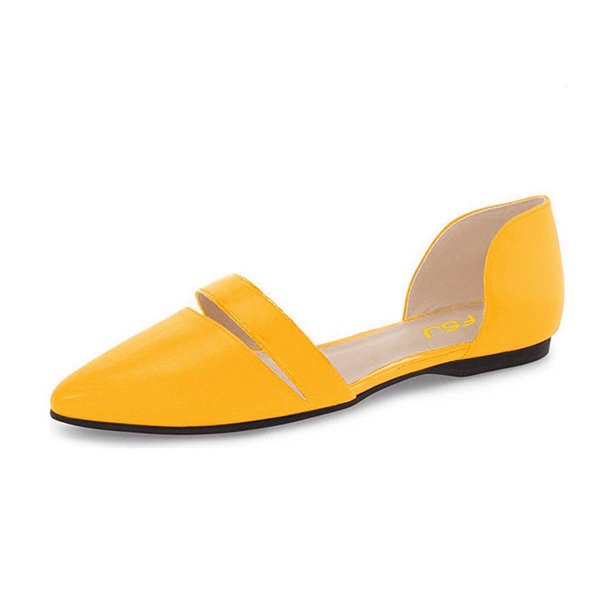 FSJ Women Cute D'Orsay Ballet Flats for Comfort Pointed Toe Low Heels Dress Shoes Size 4-15 US B01GEGLFT8 11 B(M) US|Yellow
